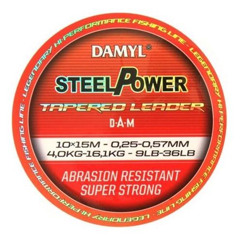Damyl Steelpower tapered leader 0,30 mm tot 0,57 mm